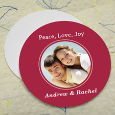 Red Personalized Photo Round Cardboard Coaster