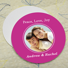 Hot Pink Personalized Photo Round Cardboard Coaster
