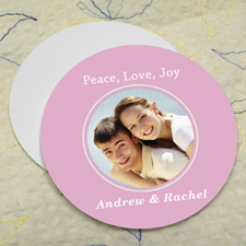 Pink Personalized Photo Round Cardboard Coaster