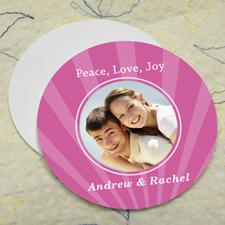 Pink Sparkle Personalized Photo Round Cardboard Coaster