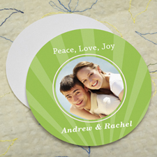 Lime Sparkle Personalized Photo Round Cardboard Coaster
