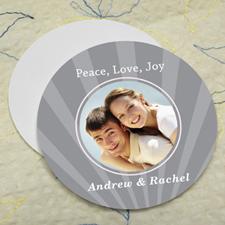 Grey Sparkle Personalized Photo Round Cardboard Coaster