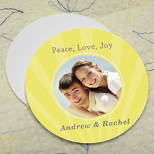 Lemon Sparkle Personalized Photo Round Cardboard Coaster