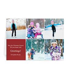 Custom Printed 5 Photo Collage Year In Review  Red Greeting Card