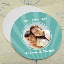 Peacock Sparkle Personalized Photo Round Cardboard Coaster