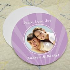 Lavender Sparkle Personalized Photo Round Cardboard Coaster