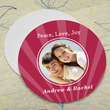 Red Sparkle Personalized Photo Round Cardboard Coaster