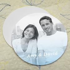 Simple Aqua Personalized Photo Round Cardboard Coaster