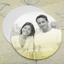 Simple Lemon Personalized Photo Round Cardboard Coaster