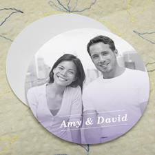 Simple Purple Personalized Photo Round Cardboard Coaster