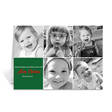 Custom Printed 5 Photo Collage Year In Review  Green Greeting Card