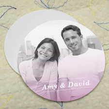 Simple Pink Personalized Photo Round Cardboard Coaster