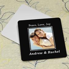 Black Personalized Photo Square Cardboard Coaster