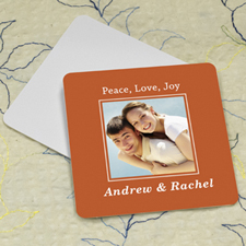 Orange Personalized Photo Square Cardboard Coaster