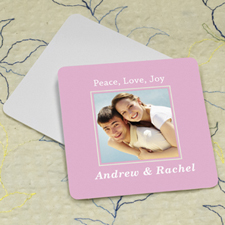 Pink Personalized Photo Square Cardboard Coaster