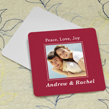 Red Personalized Photo Square Cardboard Coaster