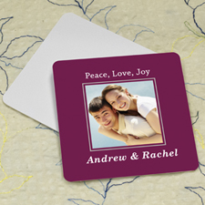 Plum Personalized Photo Square Cardboard Coaster