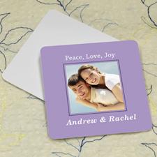 Lavender Personalized Photo Square Cardboard Coaster