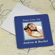 Navy Personalized Photo Square Cardboard Coaster