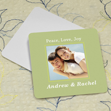 Aqua Personalized Photo Square Cardboard Coaster