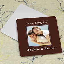 Chocolate Personalized Photo Square Cardboard Coaster