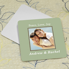Sage Personalized Photo Square Cardboard Coaster