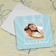 Aqua Stripe Personalized Photo Square Cardboard Coaster