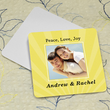 Lemon Stripe Personalized Photo Square Cardboard Coaster