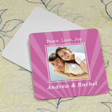 Pink Stripe Personalized Photo Square Cardboard Coaster