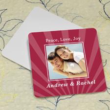Red Stripe Personalized Photo Square Cardboard Coaster