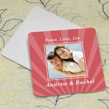 Carol Stripe Personalized Photo Square Cardboard Coaster