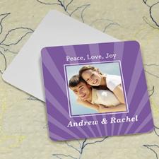 Plum Stripe Personalized Photo Square Cardboard Coaster