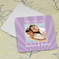 Lavender Stripe Personalized Photo Square Cardboard Coaster