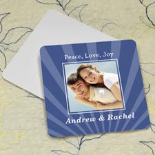 Navy Stripe Personalized Photo Square Cardboard Coaster