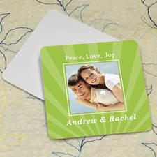 Lime Stripe Personalized Photo Square Cardboard Coaster