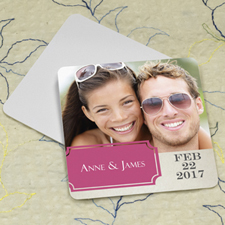 Hot Pink Banner Personalized Photo Square Cardboard Coaster