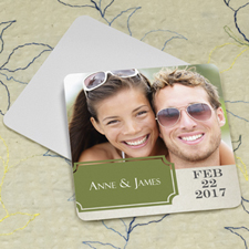 Green Banner Personalized Photo Square Cardboard Coaster