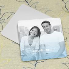 Simple Aqua Personalized Photo Square Cardboard Coaster