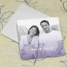 Simple Purple Personalized Photo Square Cardboard Coaster