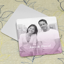 Simple Pink Personalized Photo Square Cardboard Coaster