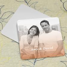 Simple Orange Personalized Photo Square Cardboard Coaster
