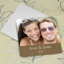 Natural Linen Personalized Photo Square Cardboard Coaster