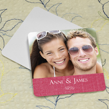 Pink Linen Personalized Photo Square Cardboard Coaster