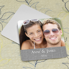 Grey Linen Personalized Photo Square Cardboard Coaster