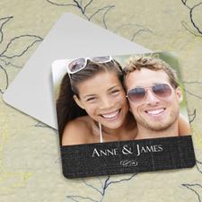 Black Linen Personalized Photo Square Cardboard Coaster