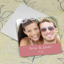 Pink Texture Personalized Photo Square Cardboard Coaster