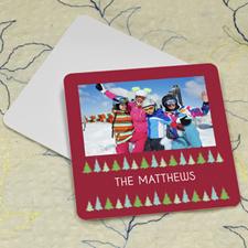 Christmas Tree Personalized Photo Square Cardboard Coaster
