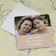 Beige Banner Personalized Photo Square Cardboard Coaster