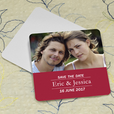 Red Banner Personalized Photo Square Cardboard Coaster
