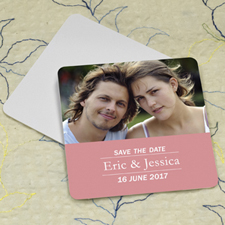Pink Banner Personalized Photo Square Cardboard Coaster